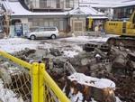 造成のための敷地ブロック塀の一時撤去
